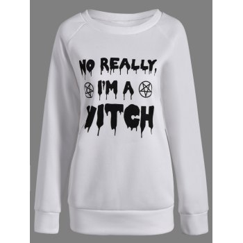 Buy Letter Witch Halloween Sweatshirt WHITE