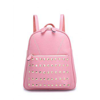 Stitching PU Leather Rivet Backpack