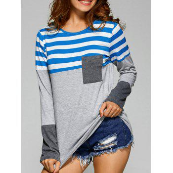 Stripes Splicing Asymmetric T-Shirt
