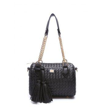 Chains Tassel Weaving PU Leather Shoulder Bag