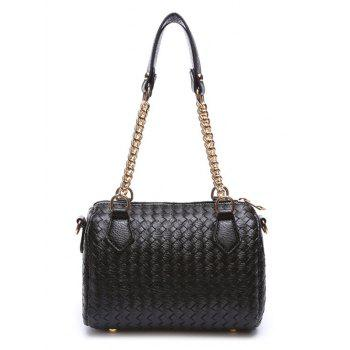 Chains Tassel Weaving PU Leather Shoulder Bag - BLACK