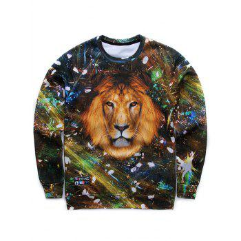 Crew Neck 3D Starshine Lion Printed Long Sleeve Sweatshirt