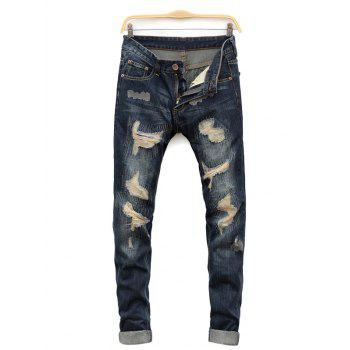 Straight Leg Cat's Whisker Distressed Denim Jeans