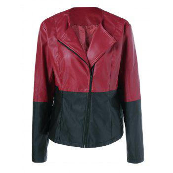 Plus Size Zipper Sleeve PU Biker Jacket