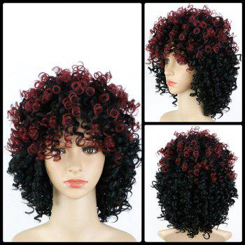 Medium Full Bang Colormix Afro Curly Synthetic Wig