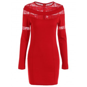 Lace-Paneled Openwork Bandage Long Sleeve Dress