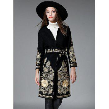 Slim Gold Thread Embroidered Long Wool Coat - BLACK L