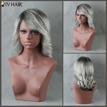 Medium Ombre Curly Side Bang Siv Human Hair Wig