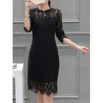 Long Sleeve Back Slit Lace Dress