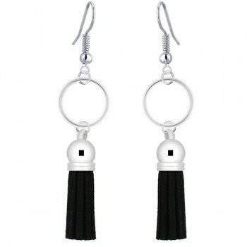 Circle Leather Tassel Embellished Drop Earrings