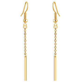 Gold Plated Strip Dangle Drop Earrings