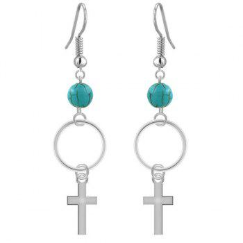 Pair of Faux Turquoise Circle Cross Drop Earrings