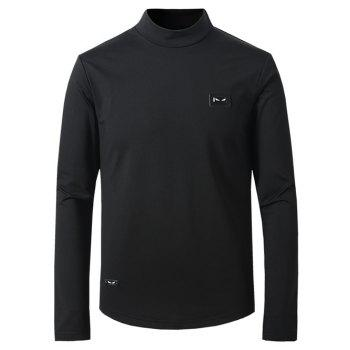 Buy Thicken Turtle Neck Long Sleeve T-Shirt BLACK