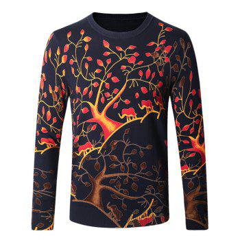 Color Block Crew Neck Tree Pattern Long Sleeve Sweater