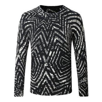 Color Splicing Crew Neck Striped Pattern Long Sleeve Sweater