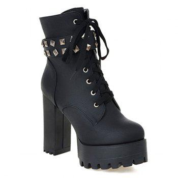Chunky Heel Lace-Up Ankle Boots