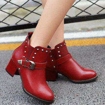 Buckle Rivets Elastic Band Ankle Boots - RED 37