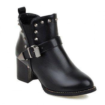 Buckle Rivets Elastic Band Ankle Boots