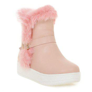 Platform Faux Fur Buckle Snow Boots