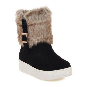 Platform Buckle Faux Fur Snow Boots