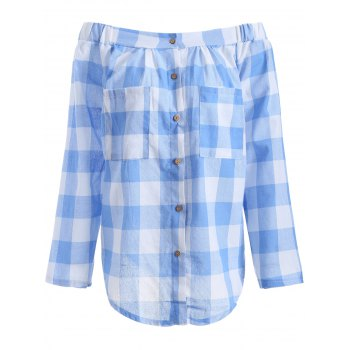 Off The Shoulder Plaid Button Down Blouse - CHECKED CHECKED