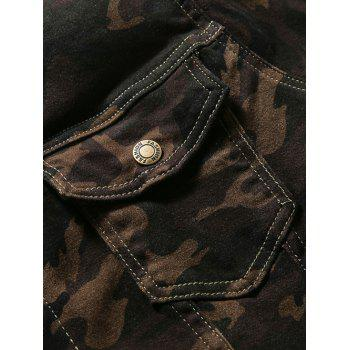 Double Pocket Turn-Down Collar Camouflage Pattern Denim Jecket - CAMOUFLAGE CAMOUFLAGE