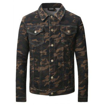 Double Pocket Turn-Down Collar Camouflage Pattern Denim Jecket