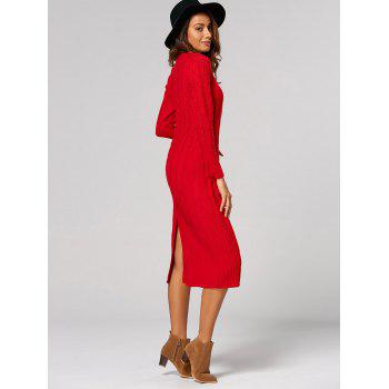 Cable Knit Back Slit Longline Sweater Dress - RED ONE SIZE