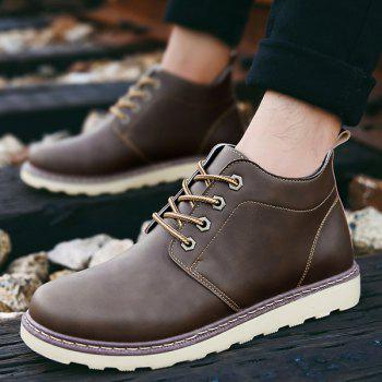 Lace-Up Eyelet PU Leather Short Boots - BROWN BROWN