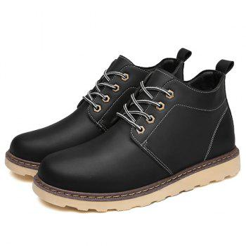 Lace-Up Eyelet PU Leather Short Boots - BLACK 43