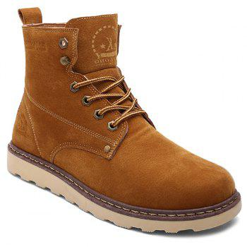 Eyelets Suede Lace-Up Short Boots
