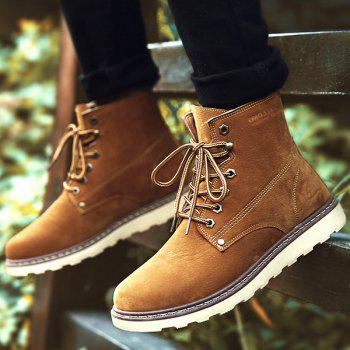 Eyelets Suede Lace-Up Short Boots - BROWN 41