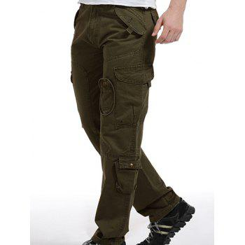 Buy Zipper Fly Pockets Embellished Splicing Design Cargo Pants ARMY GREEN