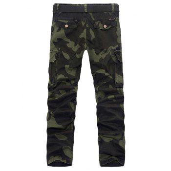 Buy Zipper Fly Pockets Embellished Plus Size Camo Cargo Pants ARMY GREEN