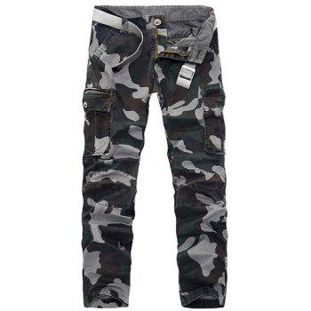 Zipper Fly Pockets Embellished Plus Size Camo Cargo Pants