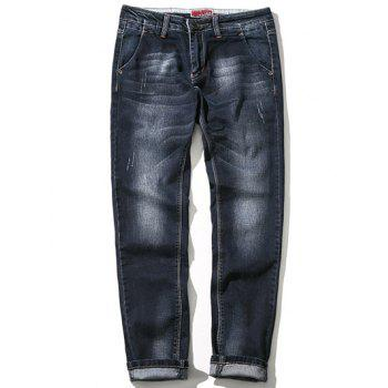 Zipper Fly Bleach Wash Plus Size Straight Leg Jeans