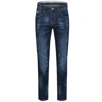 Buy Zipper Fly Cat's Whisker Design Plus Size Straight Leg Jeans BLUE