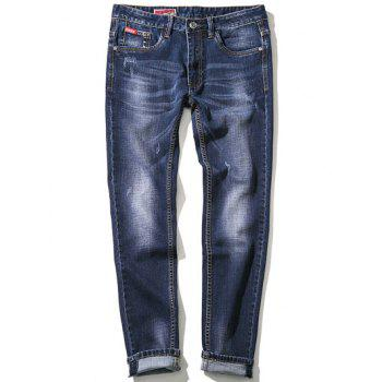 Zipper Fly Bleach Wash Plus Size Embroidery Straight Leg Jeans