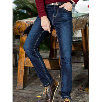 Zipper Fly PU-Leather Spliced Embellished Plus Size Straight Leg Jeans