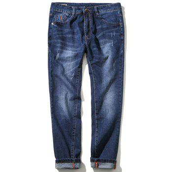 Zipper Fly Plus Size Straight Leg Simple Cat's Whisker Jeans
