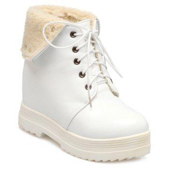 Faux Shearling Hidden Wedge Lace-Up Boots
