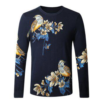 Bird Floral Printed Pullover Sweater