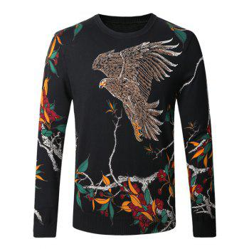 Eagle Floral Printed Pullover Sweater