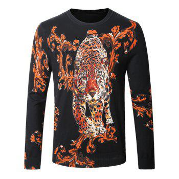 Leopard Ancient Flower Pullover Sweater