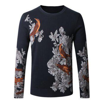 Birds Floral Print Long Sleeve Sweater