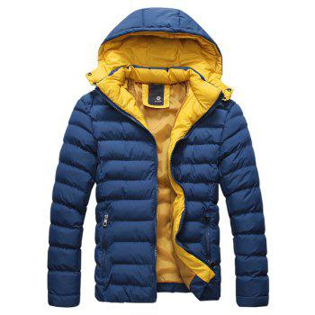 Buy Thicken Detachable Hooded Zip-Up Padded Jacket DEEP BLUE