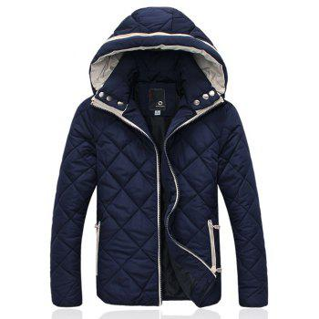 Argyle Pattern Hooded Zip-Up Padded Jacket