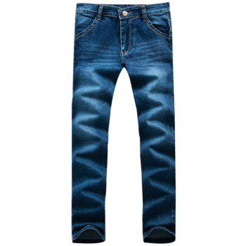 Buy Slim-Fit Zipper Fly Applique Pocket Jeans BLUE