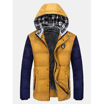 Zip-Up Color Block Hooded Quilted Jacket