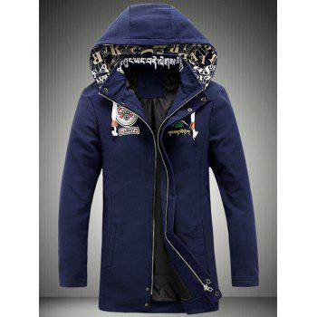 Zip-Up Patch Design Cartoon Printed Hooded Jacket